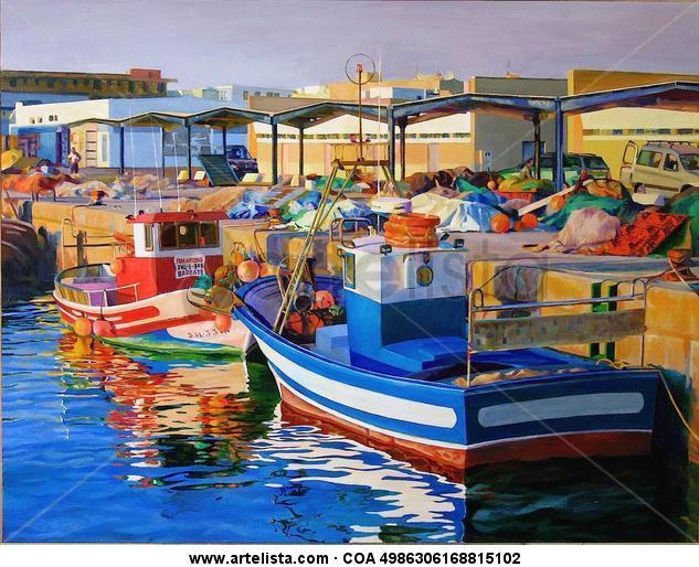 ATARDECER EN EL PUERTO Tabla Óleo Marina