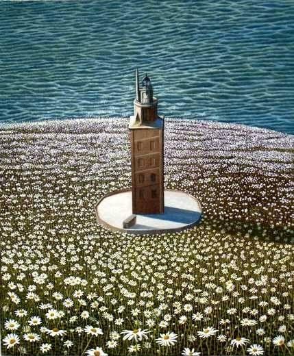 Espejismo con flores 2 Óleo Lienzo Paisaje