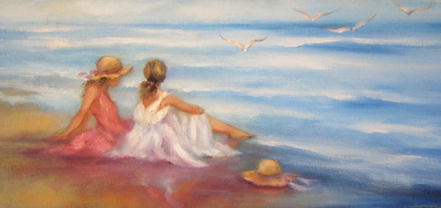 charla en la orilla del mar Figura Lienzo Óleo