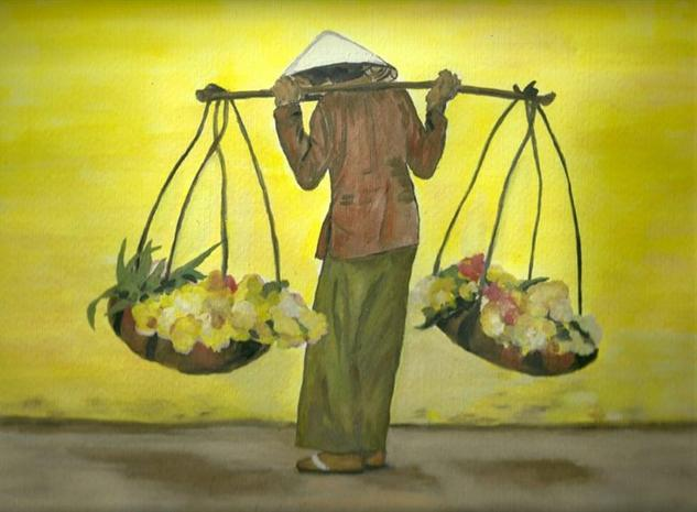 Tired Florist ,watercoulor painting by Shahrzad Ranji Lienzo Gouache Bodegones