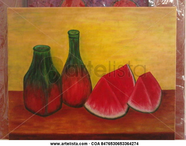 Sandia con botellas Lienzo Óleo Bodegones