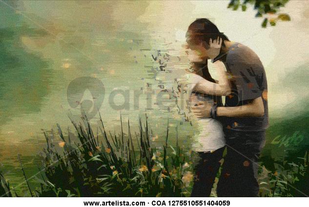 Fresco beso entre flores