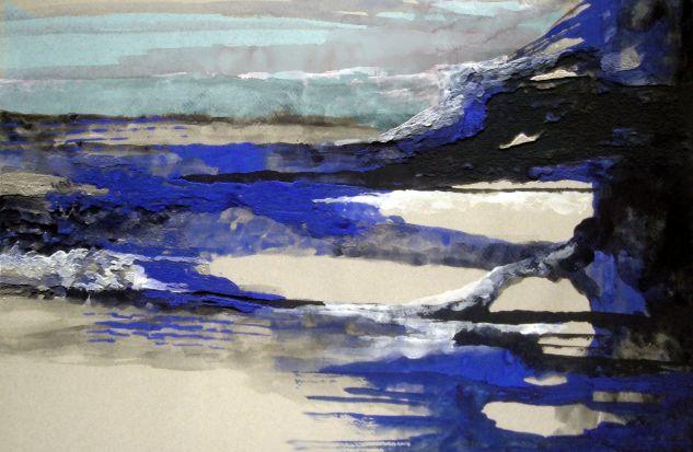 Abstracto en azul Media Mixta Lienzo Otros