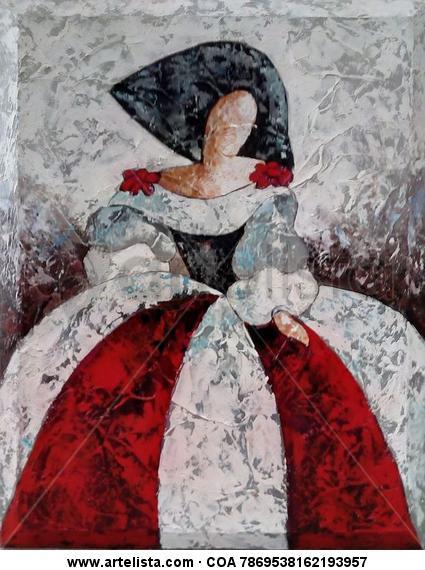 Menina textura roja blanca y negra ebora ebora - Cuadro meninas moderno ...