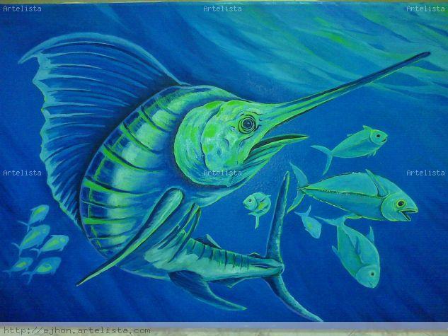 pez espada,marlins Lienzo Óleo Animales
