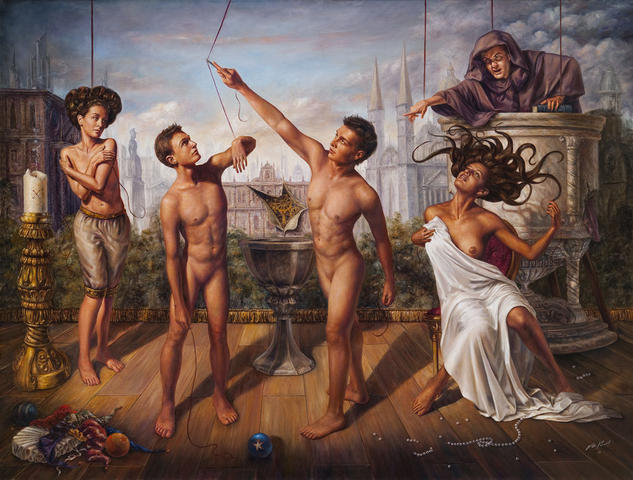 Los Muñecos Canvas Oil Figure Painting