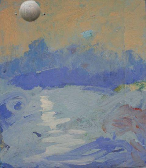 paisaje con luna llena