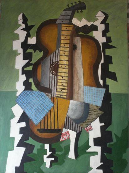 guitarra dormida Óleo Otros Lienzo