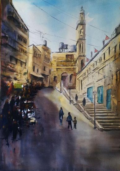 Una calle de Belem-Palestina Papel Acuarela Paisaje