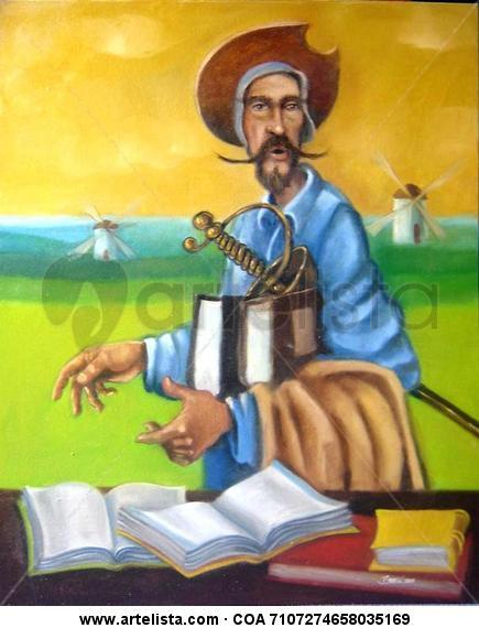 Don Quijote de la Mancha Lienzo Óleo Figura
