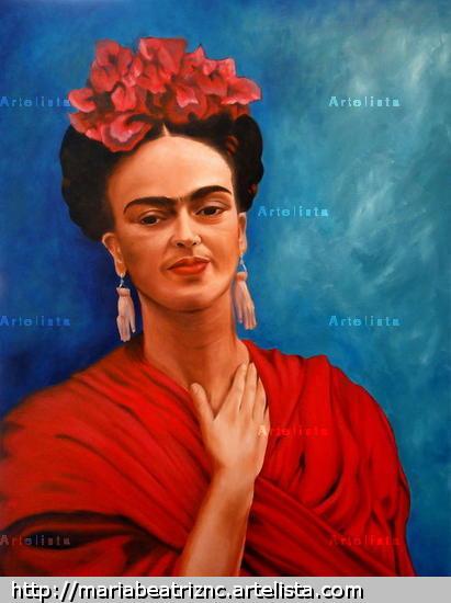 Frida en Azul Lienzo Óleo Otros
