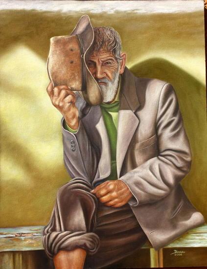 Viejo con Sombrero Lienzo Óleo Figura