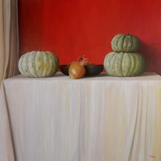 Zapallos y cebollas Bodegones Óleo Lienzo