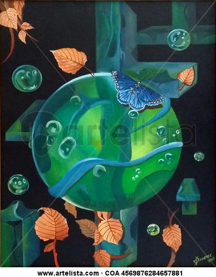 Mariposa Azul Lienzo Óleo Animales