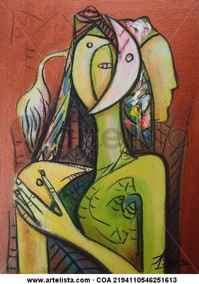 Mujer Acrílico Figura Lienzo