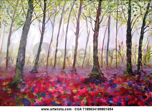 el bosque animado Canvas Acrylic Landscaping