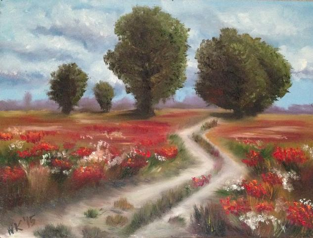 Flower field Óleo Paisaje Lienzo