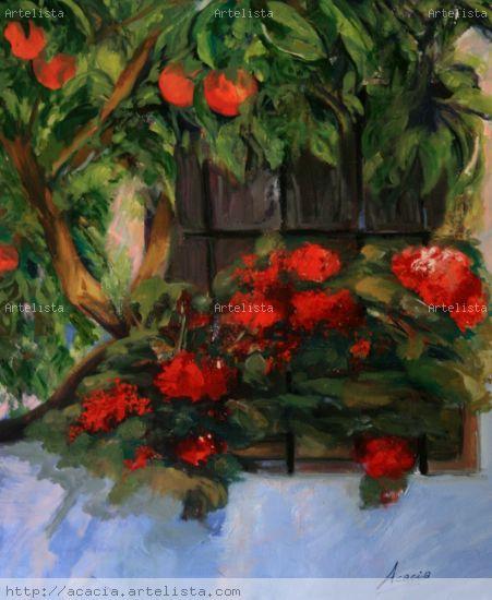 ventana valenciana Lienzo Óleo Floral