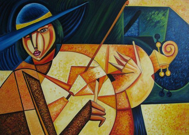 Mujer con violín Figura Lienzo Óleo