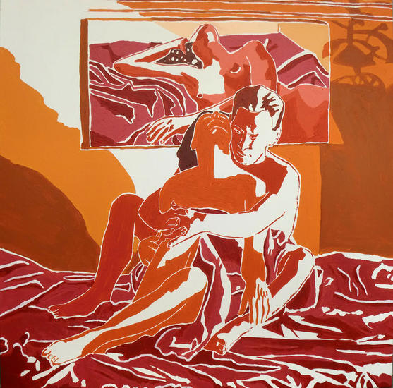 red painting of man and woman naked on bed nude male female painting erotic art Lienzo Figura Acrílico