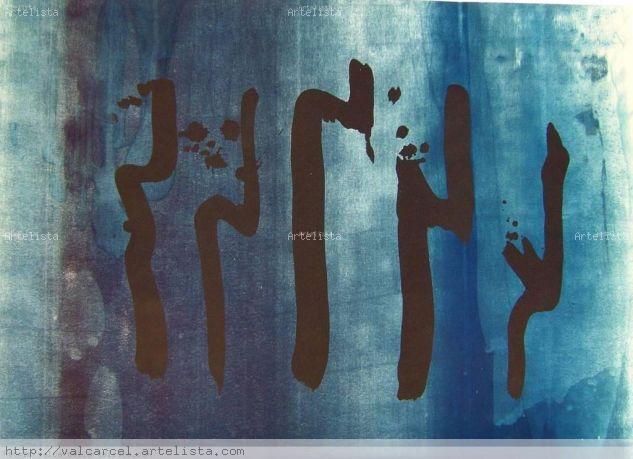Sorolls en blau Litografía