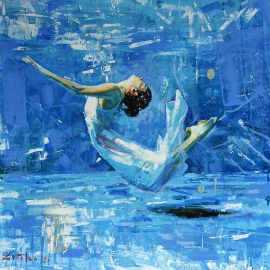 Bailando bajo el agua Marina Óleo Tabla