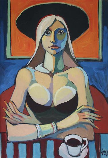 The lady in black neckline Papel Gouache Retrato