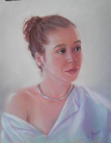 Mirada cándida Papel Pastel Retrato