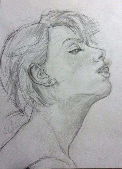 Perfil de mujer Retrato Grafito Cartulina