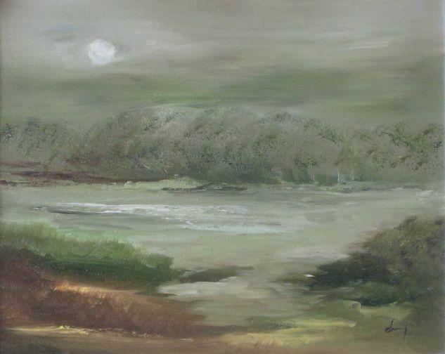 Rio bajo la luna Lienzo Óleo Paisaje