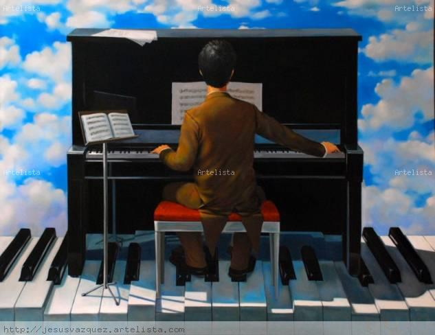 Piano y pinanista Oil Canvas Landscaping