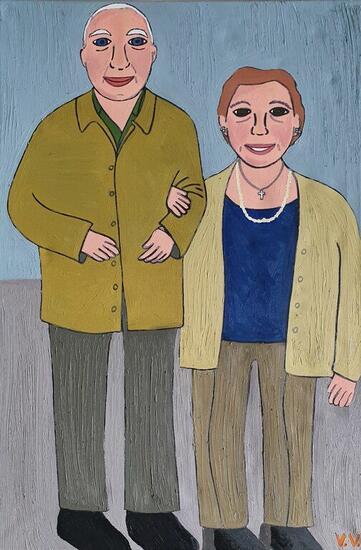 Mis abuelos paternos Retrato Óleo Lienzo