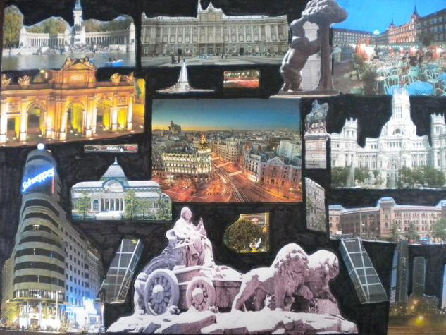Collage Madrid Paisaje Lienzo
