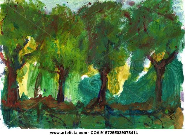Arboles Bäume Trees Moritzburg Cartulina Acrílico Paisaje