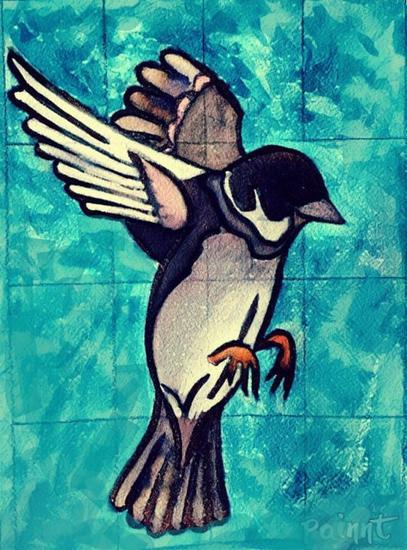 Pájaro Animales Acuarela Cartulina