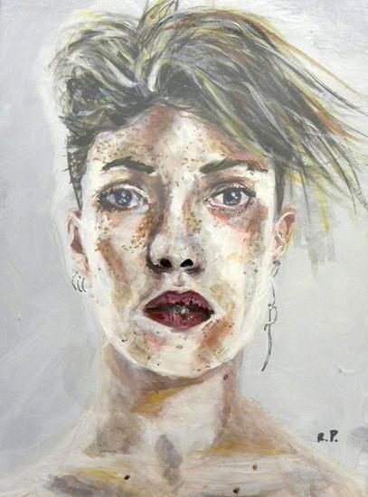 mujer de pelo corto Tabla Acrílico Retrato