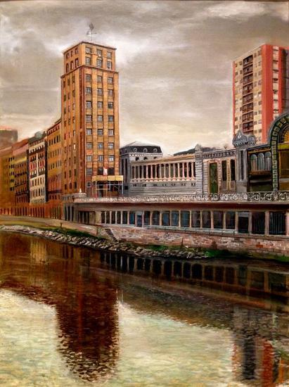 El primer rascacielos de Bilbao Paisaje Óleo Lienzo