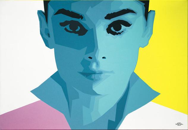 Audrey Hepburn Acrylic Painting Retrato Acrílico Lienzo