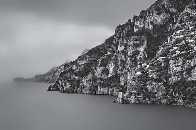 Amalfi Coast Naturaleza Blanco y Negro (Digital)