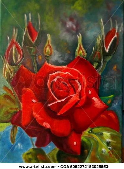 Ramo Rosas Floral Óleo Lienzo