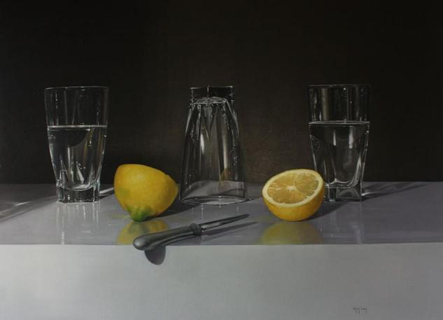 Vasos con limones Lienzo Óleo Bodegones