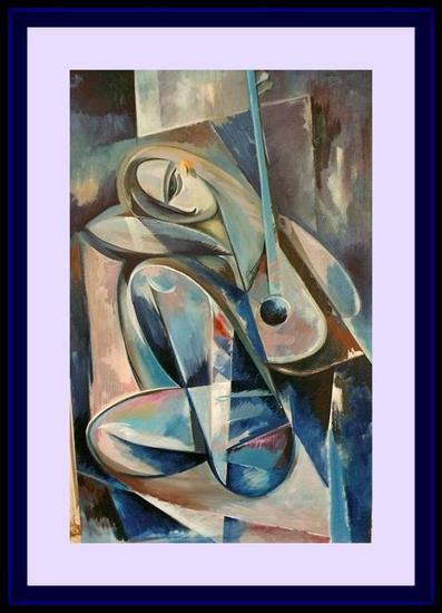 Femeia cu mandolina Lienzo Acrílico Retrato
