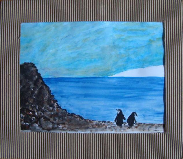 pinguinos Acuarela Papel Animales