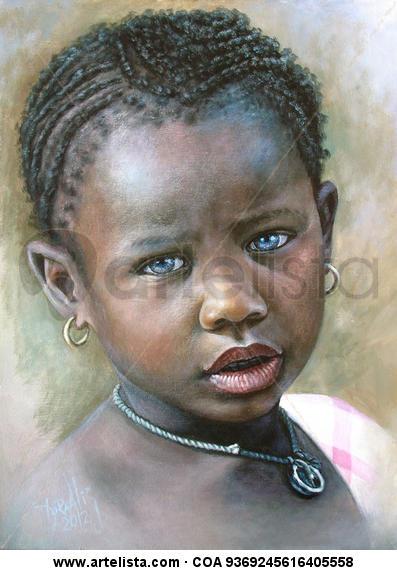 Niña de Raza Negra 3 Otros Acrílico Retrato