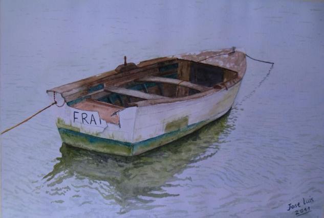 barca Acuarela Papel Marina