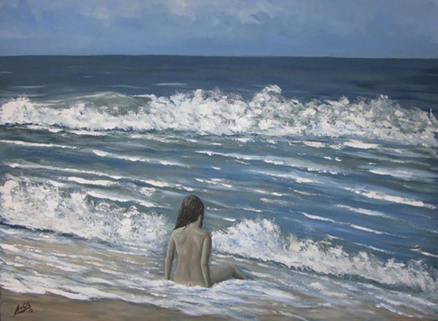 Y las olas acariciaban su piel Tela Acrílico Marina