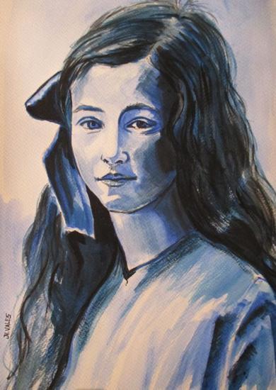 Lazo de terciopelo azul. Papel Acuarela Retrato