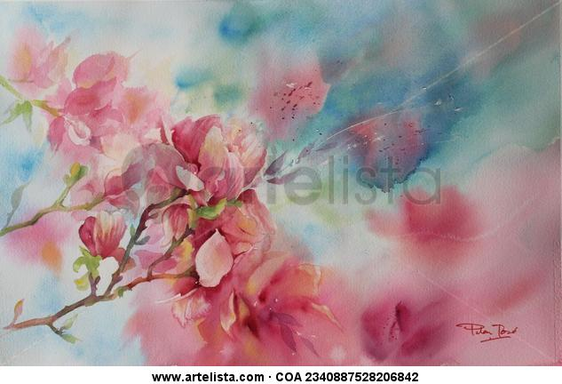 impresion floral en turquesa Papel Acuarela Floral