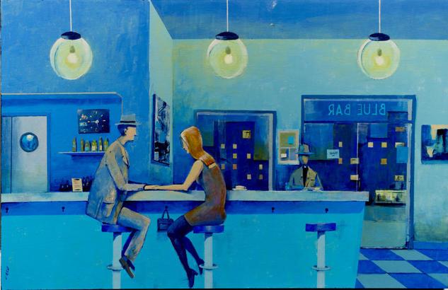 Blue Bar Panel Acrylic Figure Painting