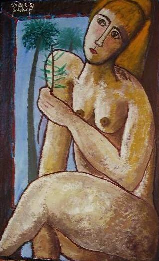 desnudo frente a la ventana Óleo Papel Desnudos